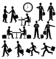Silhouette businessman set walking and vector