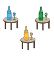 Smiling funny glass and bottle on the table vector