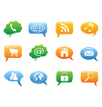 Color speech bubble with internet icons vector
