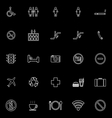 Public line icons on black background vector