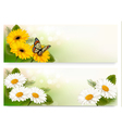 Summer banners with colorful flowers and butterfly vector
