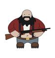 Fat redneck with shotgun vector