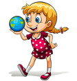 A young girl holding a globe vector