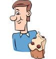 Man with cupcake cartoon vector