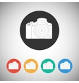 Camera icon on round background vector
