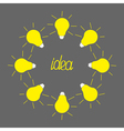 Yellow light bulb round frame on grey idea vector
