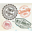 Retro vintage stamps on old squared paper vector