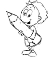 Boy with pencil - vector