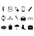 Black accessories icons set vector