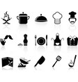 Black chef icons set vector