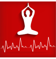 Silhouette yoga poses on a red background with car vector