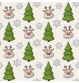Christmas pattern with deer tree snowflakes vector