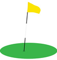 Yellow golf flag on green grass vector