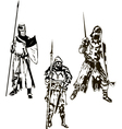 Three medieval knights vector