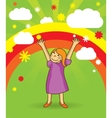 Happy girl on bright background vector