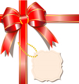 Luxurious gift with red ribbon and card vector