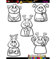 Dog emotion set cartoon coloring book vector