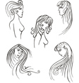 Stylized woman heads vector