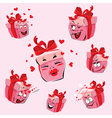 Set of pretty pink gift boxes cartoons vector