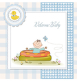 Baby bathe in a small pool shower announcement vector