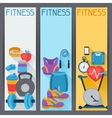 Sports vertical banners with fitness icons in flat vector