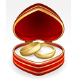 Gold wedding rings with heart shaped box eps10 vector