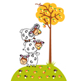 Cartoon sheep and apples vector