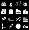 New year icons on black background vector