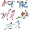 Struggle and fighting sports boxing judo taekwondo vector