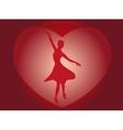 Dancing ballerina in a big red heart in the form vector