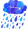 Watercolor painted autumn rain with cloud vector