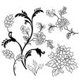 Black outline flower elements vector