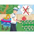 Hunt for mosquitoes in the garden vector