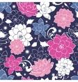 Dark grey pink floaral seamless pattern vector