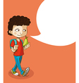 Back to school education boy with social bubble vector