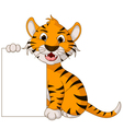 Funny tiger cartoon posing with blank sign vector
