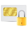 Sim card with golden lock vector