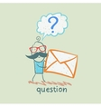Man with a question mark holds an envelope vector