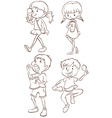 Simple sketches of kids taking their snacks vector