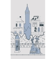 England town silhouette with people vector