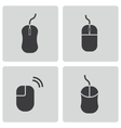 Black computer mouse icons set vector