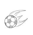 Sketch of the flying football ball with flames vector