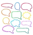 Hand-drawn colorful speech bubbles vector