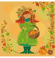 Redhead smiling girl in autumn scene vector