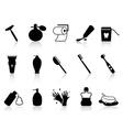 Black bathroom accessories icon set vector