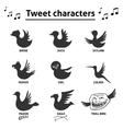 Tweet birds social media internet icons vector