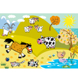 Landscape with childish farm animals autumn season vector