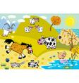 Landscape with childish farm animals autumn season vector