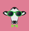 Images of a cow wearing glasses vector