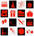 New year red color icons vector